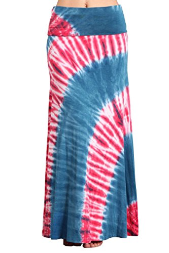 (HEYHUN Plus Size Womens Casual Tie Dye Solid Boho Hippie Long Maxi Skirt - Red Blue -)