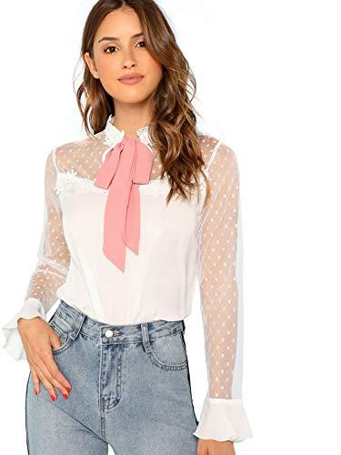 Flounce Lace Dress (WDIRARA Women's Lace Tie Neck Polka Dots Contrast Mesh Flounce Sleeve Blouse Top White S)
