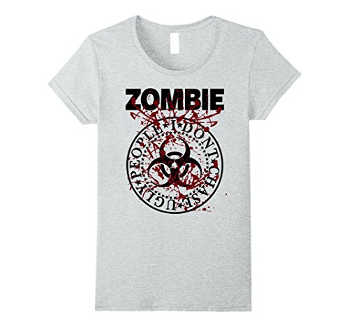 Womens ZOMBIE SHIRT - ZOMBIE HALLOWEEN FANCY DRESS TSHIRT Small Heather (Ideas For Female Halloween Fancy Dress)