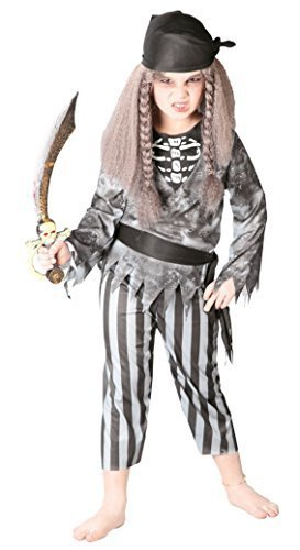 Girls Boys Ghost Pirate Zombie Halloween Skeleton Fancy Dress Costume Outfit (5-6 -