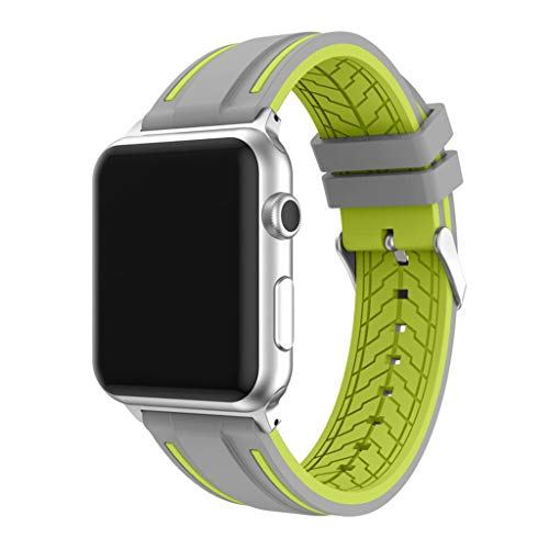 Cywulin Compatible with Apple Watch Band 38mm 42mm 40mm 44mm, Soft Silicone Sport Wrist Loop Replacement Strap Bracelet for iWatch Series 4 3 2 1 Stainless Steel Buckle Adapters (42mm/44mm, Green)