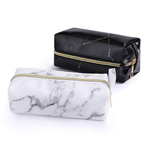 2 Packs Marble Makeup Bag Big Capacity Pencil Bag Portable Cosmetic Bag Travel Storage Bags with Gold Zipper for Girls Women Makeup Brush Bag