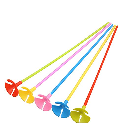 16 inch Color Handheld Balloon Stick Red Yellow Blue Green Pink 50 Count ()