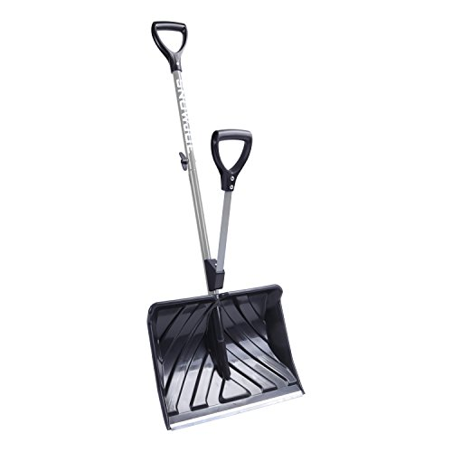 Snow Joe SJ-SHLV01-GRY Shovelution Strain-Reducing Snow Shovel (Gray) | 18-Inch | Spring Assisted Handle