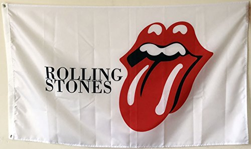 (2But Rolling Stones Flag Banner White 3X5FT Band Music Jagger Richards Rock and ROLL)