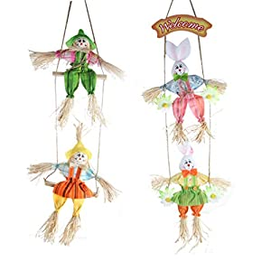 IFOYO Scarecrow Wreath, 2 Pack Hanging Scarecrows for Happy Halloween Decorations Thanksgiving Decor Autumn Fall Harvest Decoration for Home, Front Door, Indoor Wall 91