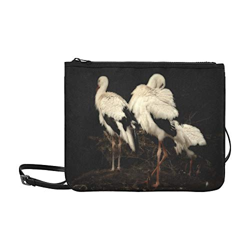 Nature Bird Wing Black And White Wildlife Beak Pattern Custom High-grade Nylon Slim Clutch Bag Cross-body Bag Shoulder Bag