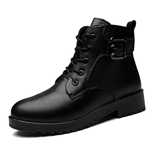 Female Short Martin Boots Leather Low Flat Heel Buckle Warm Casual Shoelace Thicker Plush Ankle Shoes BLACK-35 vB9h0