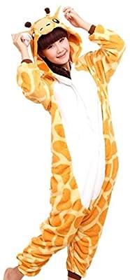 WOWcucos Unisex Adult Giraffe Onesies Animal Cosplay Costume Halloween Xmas Pajamas