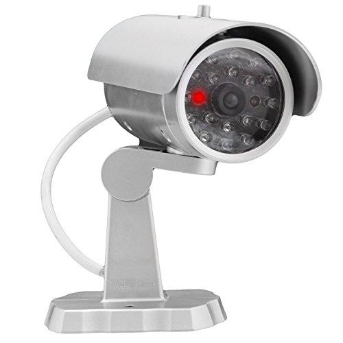 Fake Überwachungskamera Kamera Dummy mit Blinklicht in Silber - Sieht aus wie eine echte!