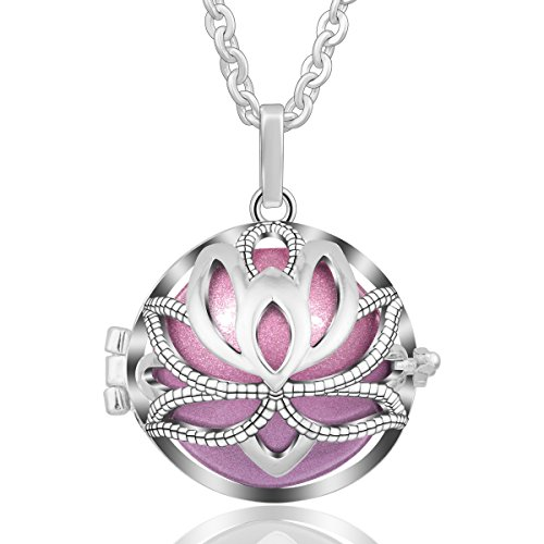 EUDORA Harmony Bola Necklace Yoga Lotus Music Chime Pendant Gift for Mom Angel Jewelry