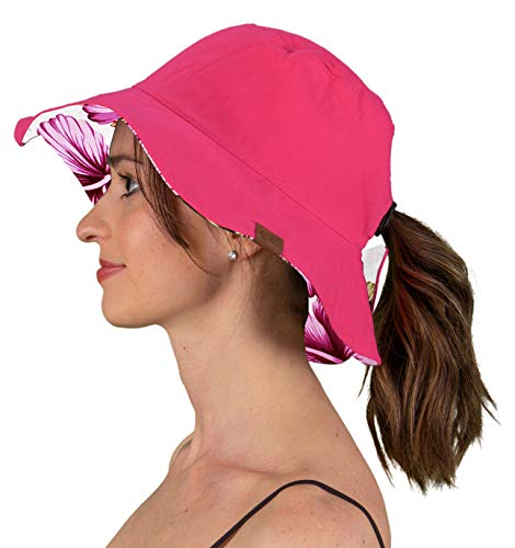 Ladies Multi Hat Floral Colored - SH-22-24F Reversible Sun Bucket Hat - Hot Pink/Floral