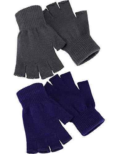 Satinior 2 Pair Unisex Half Finger Gloves Winter Stretchy Knit Fingerless Gloves in Common Size (Navy Blue + Grey)