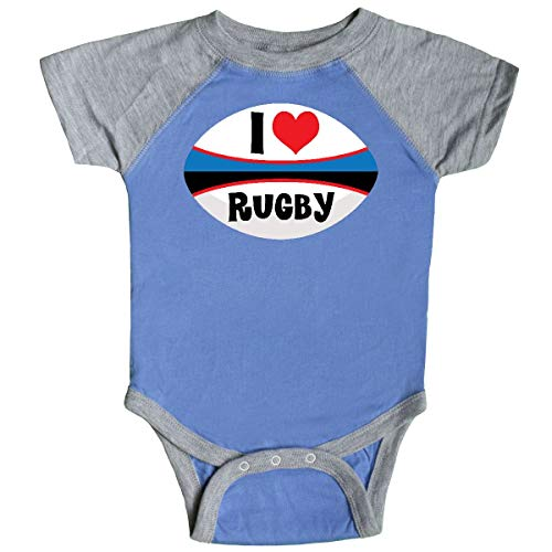 inktastic - I Love Rugby Sports Infant Creeper 6 Months Blue and Heather ()