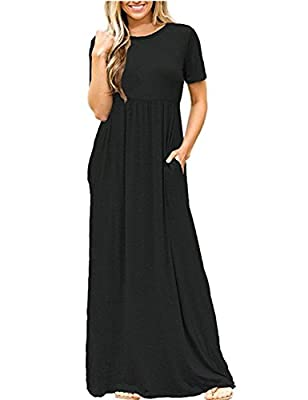 OQC Women's Short Sleeve High Waist Loose Plain Casual Long Maxi Dress With Pockets
