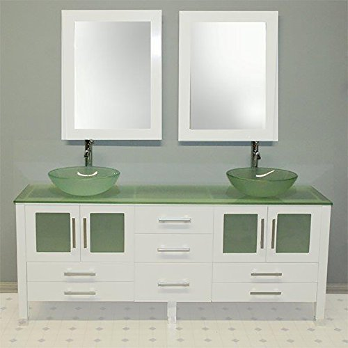 Cambridge Plumbing 63 inch Solid Wood Vanity with Frosted Glass Counter top and Two Matching Vessel Sinks. Two faucets Brushed Nickel.