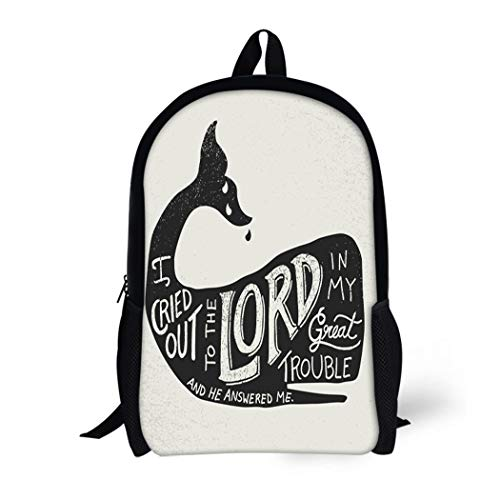 Pinbeam Backpack Travel Daypack Bible in Inside Whale Silhouette From the Waterproof School Bag ()