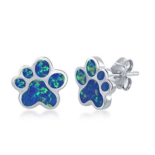 Sterling Silver High Polish Created Blue Opal Paw Stud Earrings