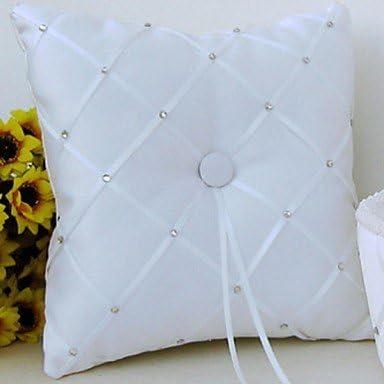 Anillo almohada satén Vegas tema / Asia tema / tema de cuento de hadas / tema Floral con cintas / arco / diamantes de imitación: Amazon.es: Hogar
