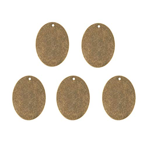 (Pandahall 10pcs Antique Bronze Brass Blank Stamping Tag Pendants Metal Alphabet Letter Stamps Tags Charms for Jewelry Necklace Makings 1.18x1.57 inch Oval)
