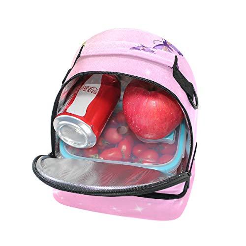 pour à bandoulière Pincnic isotherme Cooler Alinlo avec réglable lunch l'école Rose Tote Sac Fée Papillon à Boîte IOUxI