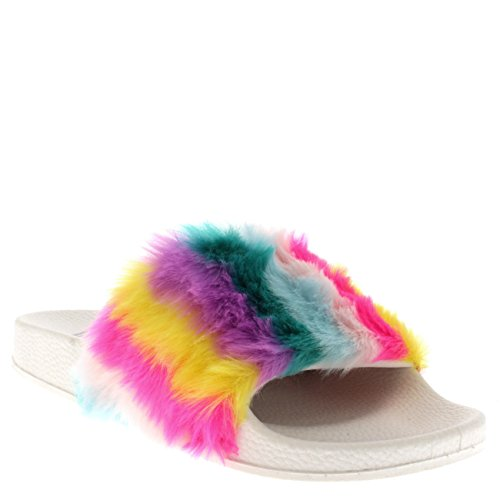 Viva Womens Sassy Chic Summer Single Strap Open Toe Fluffy Flat EVA Fashion Sandals White/Multi wiipJ