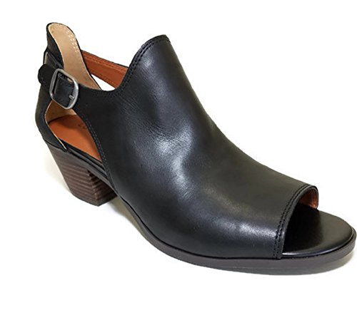 Lucky Brand Bannah Peep Toe Open Ankle Bootie Womens Black Leather Shoe 6kp71biQ