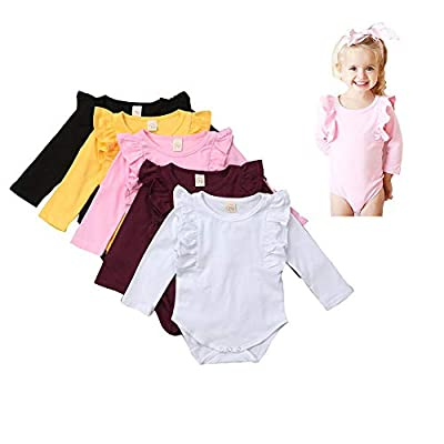 One Persent 0-24 Months Infant Baby Girls Ruffle Long Sleeve Cotton Romper Bodysuit Jumpsuits Basic Clothes