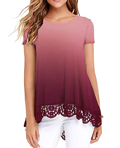 UUANG Gradient Dip-Dye Pullover Women's Scoop Neck Short Sleeve Top (Gradual Red,S)