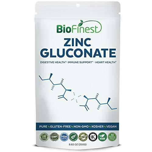 Biofinest Zinc Gluconate Powder 15mg/25mg/30mg/50mg/100mg - Pure Gluten-Free Non-GMO Kosher Vegan Friendly - Supplement for Digestive Health, Immune Support, Healthy Heart (250g)