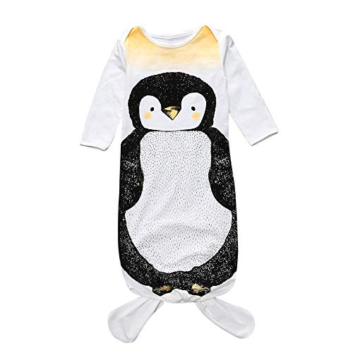 keebgyy Baby Sleeping Bag, Knotted Tie Soft Cotton Long Sleeve Sleepwear Anti Kick Swaddle Bedding Unisex, for Newborns Infant Toddlers(Penguin S) (Penguin Diaper Bag)