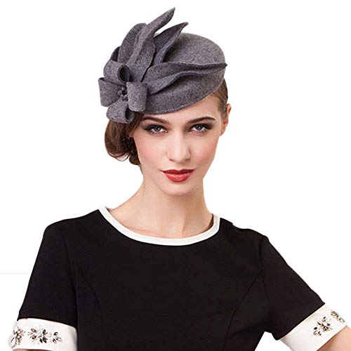 (Elegant Wedding Wool Felt Fascinator Cocktail Pillbox Hat Ladies Winter Floral Fedoras )