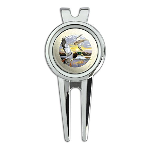 Mallard Ducks Flying Sunrise Golf Divot Repair Tool and Ball Marker
