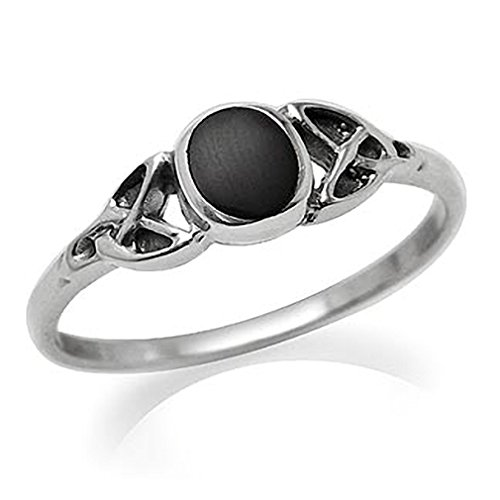 Created Black Onyx Inlay 925 Sterling Silver Celtic Knot Ring Size 5