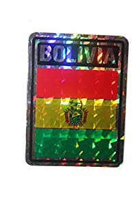 Bolivia SQUARE Country Flag Metallic Bumper Sticker Decal .. Size : 10 x 7.5 Cm .. New