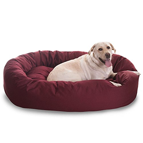 1 Piece Burgundy Red Extra Large 52 Inches Comfort Pet Bed, Dark Red Color Donut Style Oval Plush Dog Bedding, Bolster Cushion Luxurious Unique Durable Raised Sides Waterproof, Polyester Cotton Twill For Sale