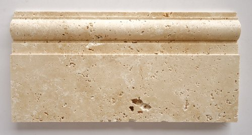 Ivory - Light Travertine Honed 6 X 12 Baseboard Trim Molding - STANDARD QUALITY - Lot of 20 Pcs.