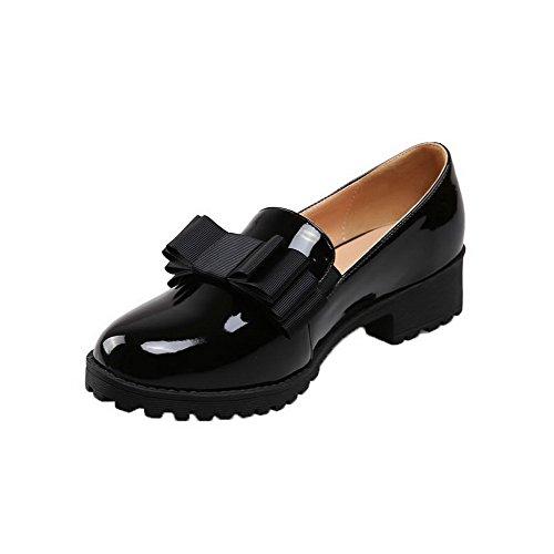 AgooLar Damen Rein Lackleder Niedriger Absatz Rund Zehe Ziehen auf Pumps Schuhe Schwarz