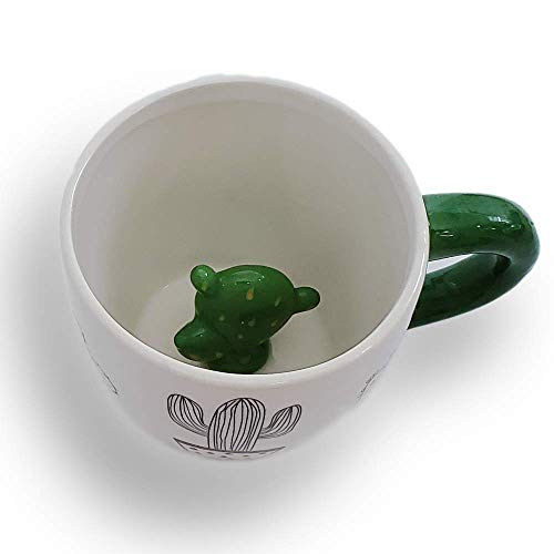 Hidden Cactus Mug by Succulent City with Surprise Cactus Décor On The Inside - Fun Ceramic Coffee Cups - Best Office Cup & Birthday Gift, 10oz