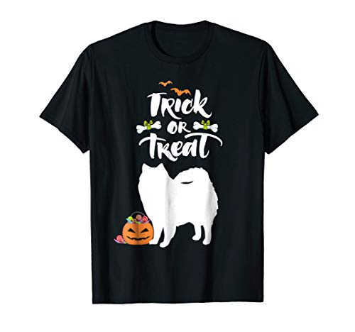 Trick Or Treat American Eskimo Halloween Dog T-Shirt]()