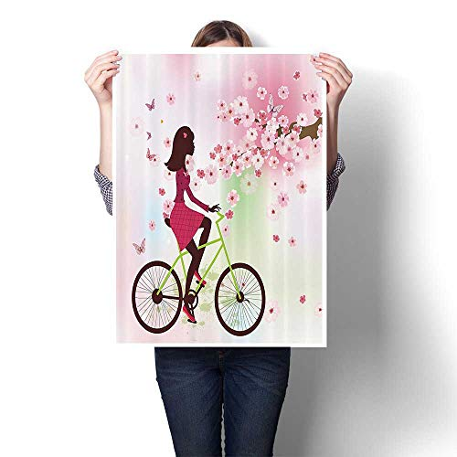 SCOCICI1588 Canvas Wall Art Large Romantic Oil Painting Girl Bike Passing by Cherry Trees Blooms Springtime Nature Seasal On Canvas,24