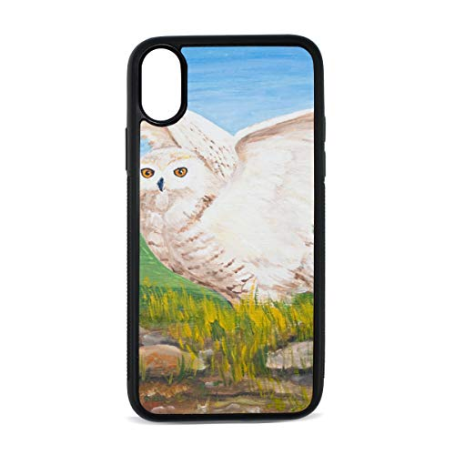 iPhone Owl Oil Painting Animal Bird Gray White Natural Big Eyes Sharp Cute Digital Print TPU Pc Pearl Plate Cover Phone Hard Case Accessories Compatible with Protective Apple Iphonex/xs Case 5.8 Inch ()