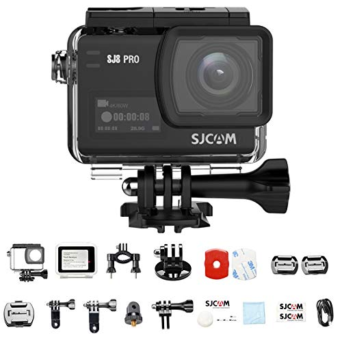"SJCAM SJ8 PRO Action Camera, 4k/60fps Sports Cam with Ambarella H22 Sensor, EIS, 170°Wide-angle Lens, 2.33"" Touchscreen, 1200mAH Battery for Underwater, Outdoor Activity (Waterproof Case Included)"
