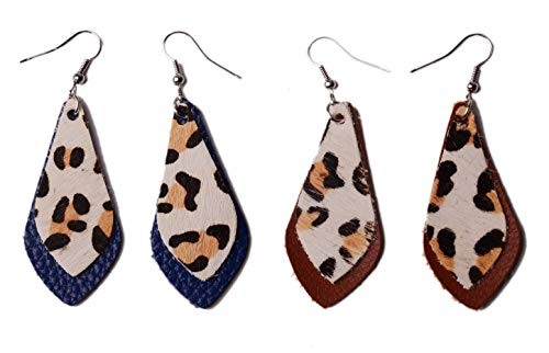 L&N Rainbery 2 Pairs Petal Leather Earrings Faux and Genuine Leather Teardrop Earrings Leaf Drop Earrings (Leopard2(Blue+Brown))