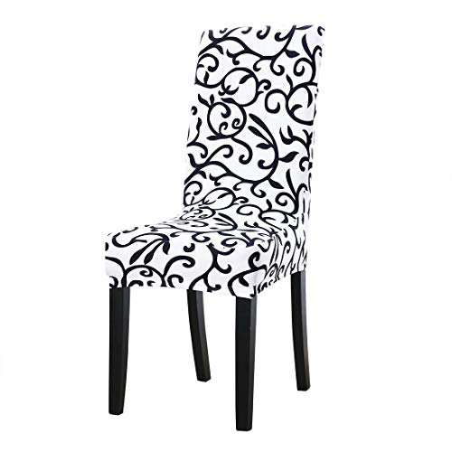 uxcell Dining Chair Cover,Stretch Bar Stool Slipcover Kitchen Pattern Chair Protector Spandex Short Chair Seat Cover for Home Decorative/Dining Room/Party/Wedding (Medium,White + Black)