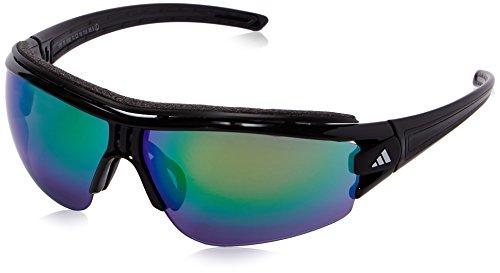 adidas Evil Eye Halfrim Pro L A181 6090 Rectangular Sunglasses, Black Shiny & Black, 72 - Pro S Evil Halfrim Eye