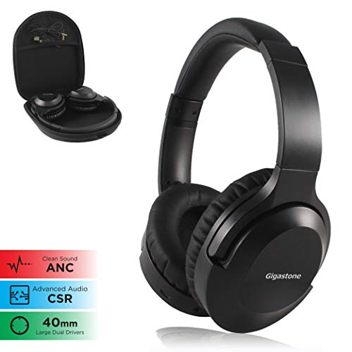 Gigastone Bluetooth Wireless Active Noise Cancelling Headphones Hi-Fi Stereo CSR Advanced Audio Built-in Mic Ultimate Comfort Over Ear Headset Leather Wired Mode Support PC Cell Phones ()