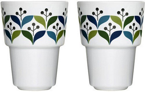 Sagaform 10-Ounce Stoneware Retro Mug, 2-Pack