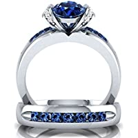 patcharin shop 925 Sterling Silver Rings Blue Sapphire Gemstone Ring Wedding Jewelry Size 6-10 (8)