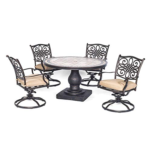 - Patio Dining Set. 5 Piece Outdoor Porch, Deck, Lawn, Pool, Garden, Balcony Diner, Conversation, Seating, Bistro, Chat Aluminum Furniture Kit with Fire Pit. Outside Round Table, Chairs, Cushions